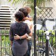 Photos exclusives : Halle Berry, Olivier Martinez, jeunes mariés, la petite Nahla posent dans le quartier de Saint-Germain-des-Près pour leurs invités américains du mariage du 13 juillet 2013. Paris le 15 juillet 2013.