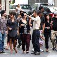 Photos exclusives : Halle Berry, Olivier Martinez, jeunes mariés, la petite Nahla faisant visiter le quartier de Saint-Germain-des-Près à leurs invités américains à leur mariage du 13 juillet 2013. Paris le 15 juillet 2013.