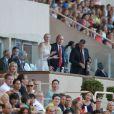 La princesse Charlene et son époux Albert de Monaco assistaient au meeting Herculis, dixième étape de la Golden League, au Stade Louis II de Monaco, le 19 juillet 2013