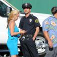 John Stamos sur le tournage d'une publicité pour un yaourt Dannon Oikos Greek, à Los Angeles, le 22 juillet 2013.