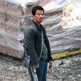 Mark Wahlberg égratigné, avec une arme, sur le tournage de Transformers 4 à Detroit, le 31 juillet 2014.