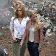Nicola Peltz et Sophia Myles sur le tournage de Transformers 4 à Detroit, le 31 juillet 2014.