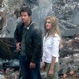 Mark Wahlberg et Nicola Peltz sur le tournage de Transformers 4 à Detroit, le 31 juillet 2014.