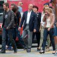 Nicola Peltz, Stanley Tucci, Sophia Myles sur le tournage de Transformers 4 à Detroit, le 31 juillet 2014.