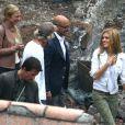 Mark Wahlberg, Nicola Peltz, Sophia Myles et Stanley Tucci sur le tournage de Transformers 4 à Detroit, le 31 juillet 2014.