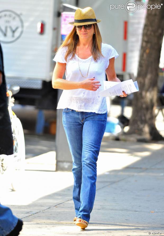 Jennifer Aniston arrivant sur le tournage du film Squirrels to the Nuts à New York le 31 juillet 2013