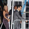 Jennifer Aniston et son fiancé Justin Theroux se rendant à l'after party du film Les Miller, à New York le 1er août 2013