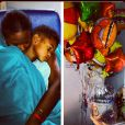 Tameka Raymond, la mère de Raymond V tient son fils dans les bras à l'hôpital. Août 2013.