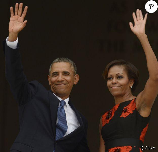 """Barack Obama et son épouse Michelle lors de la commémoration du 50e anniversaire de la marche de Washington, """"Let The Freedom Ring"""", au sein de la capitale des Etats-Unis le 28 août 2013"""