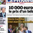 Capture d'écran du journal La Provence avec le mariage de Clovis Cornillac et Lilou Fogli en une.