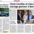 Capture d'écran du journal La Provence avec les détails du mariage et une photo du perron.