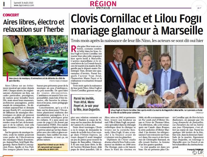 Capture d 39 cran du journal la provence avec les d tails du mariage et une - Le journal de la provence ...