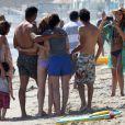Jessica Alba, son mari Cash Warren et leurs filles Honor et Haven sur la plage de Malibu, le 1er septembre 2013.