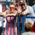 Alyssa Milano avec son mari Dave Bugliari et leur fils Milo au Farmers Market, lors du Labor Day, à Studio City, le 1er septembre 2013.