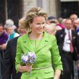 La reine Mathilde de Belgique assistait avec le roi Philippe le 1er septembre 2013 à la Cavalcade d'Hanswijk, commémoration de la Vierge Marie à Malines. Leur première sortie officielle depuis l'intronisation du nouveau roi des Belges le 21 juillet.
