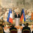 François Hollande et le président allemand Joachim Gaucklors d'un dîiner d'Etat à l'Elysée le 3 septembre 2013.
