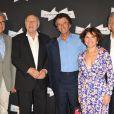 Serge Toubiana, Michel Piccoli, Jack Lang et sa femme Monique, Constantin Costa-Gavras à l'ouverture de la rétrospective Michel Piccoli à la Cinémathèque à Paris le 4 septembre 2013.