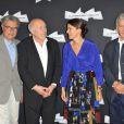 Serge Toubiana, Michel Piccoli, Aurélie Filippetti et Constantin Costa Gavras à l'ouverture de la rétrospective Michel Piccoli à la Cinémathèque à Paris le 4 septembre 2013.