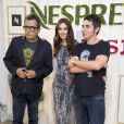 Paz Vega, nouvelle ambassadrice Nespresso, à Madrid le 19 septembre 2013, avecAndreu Buenafuente et Berto Romero