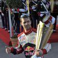 Sébastien Loeb après sa victoire au 80e Rallye de Monte Carlo, le 22 janvier 2012