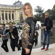 Alexandra Rosenfeld arrive à la galerie sud est du Grand Palais pour assister au défilé Leonard printemps-été 2014. Paris, le 30 septembre 2013.