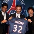 Nasser Al-Khelaifi, David Beckham et Leonardo au Parc des Princes à Paris le 31 janvier 2013