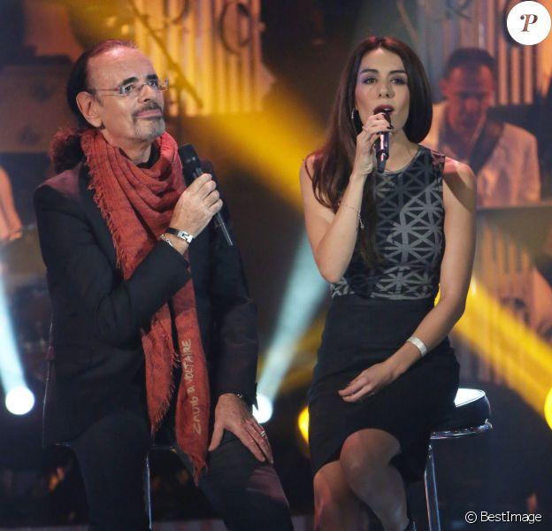 """Exclusif - Nicolas Peyrac et Sofia Essaïdi à l'enregistrement de l'émission """"Les Années Bonheur"""" qui sera diffusée le 2 novembre 2013."""