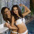 Paulina Krupinska (Miss Pologne) et Olga Storozhenko (Miss Ukraine) - Les candidates au concours Miss Univers à Moscou le 22 octobre 2013.
