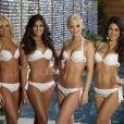 Jeanette Borhyova (Miss Slovaquie), Fabiana Granados (Miss Costa Rica), Dominique Rinderknecht (Miss Suisse) et Anastasia Sidirpoulou (Miss Grèce) - Les candidates au concours Miss Univers à Moscou le 22 octobre 2013.