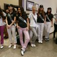 Brenda Gonzalez (Miss Argentine), Nastassja Bolivar (Miss Nicaragua), Anastasia Sidiropoulou (Miss Grèce), Jeanette Borhyova (Miss Slovaquie), Ana Vrcelj (Miss Serbie) et Alixes Scott (Miss Ile de Guam) - Les participantes à Miss Univers 2013 en shooting photo à Moscou, le 28 octobre 2013