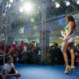 Miss Pérou 2013 Cindy Mejia lors de la présentation de la collection 2014 Yamamay pour Miss Univers, une collection de maillots de bain au Rio Leninsky Mall à Moscou, le 26 octobre 2013
