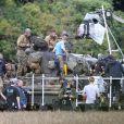 """Brad Pitt en plein le tournage de """"Fury"""" au Royaume-Uni, dans le comté d'Oxfordshire le 4 octobre 2013"""