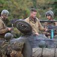 """Brad Pitt sur le tournage de """"Fury"""" au Royaume-Uni, dans le comté d'Oxfordshire le 4 octobre 2013"""