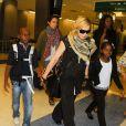 Madonna et ses enfants David, Mercy et Lourdes arrivent à New York en provenance de Londres, le 3 septembre 2013.