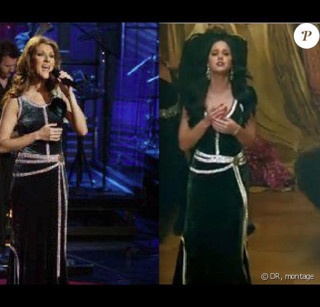 Céline Dion en 2004 et Katy Perry dans son clip Unconditionally (2013)