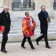 Thierry Repentin, Christiane Taubira et Guillaume Garot à la sortie du Conseil des ministres du 20 novembre 2013 au palais de l'Elysée à Paris.