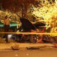 Les autorités intervenant et examinant la scène de l'accident fatal à l'acteur Paul Walker, star de  Fast and Furious , tué à 40 ans dans le crash d'une Porsche GT dont il était le passager, le 30 novembre 2013 à Santa Clarita (nord de Los Angeles).