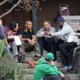 Ludacris ; Paul Walker ; Michelle Rodriguez ; Sung Kang sur le tournage du film Fast & Furious 6 à Silver Lake, le 2 décembre 2012.