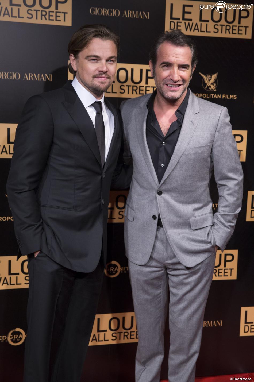 Leonardo dicaprio et jean dujardin lors de l 39 avant premi re du film le loup de wall street le 9 - Le loup de wall street film ...