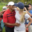 Tiger Woods et sa douce Lindsey Vonn lors de la Presidents Cup au Muirfield Village Golf Club de Dublin aux Etats-Unis, le 5 octobre 2013