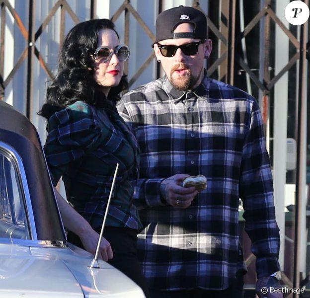 Exclusif - Benji Madden et Dita Von Teese à Studio City, le 24 décembre 2013.