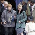 Cynthia Nixon et sa femme Christine Marinoni lors de l'intronisation de Bill de Blasio, à New York, le 1er janvier 2014.