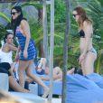 Exclusif - Demi Moore, avec son petit ami Sean Friday et sa fille Rumer Willis, passe de belles vacances au Mexique à Cancun le 1er janvier 2014