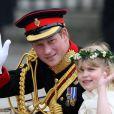 Lady Louise Windsor, demoiselle d'honneur au mariage du prince William et de Kate Middleton, avec le prince Harry, le 29 avril 2011