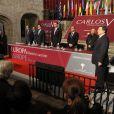 Le prince Felipe d'Espagne remettait le 16 janvier 2014 le Prix Europeo Carlos V à José Manuel Barroso, au monastère de Yuste.