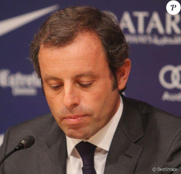 Sandro Rosell, le président du FC Barcelone, annonce sa demission lors d'une conference de presse au stade du Camp Nou à Barcelone, le 23 janvier 2014.
