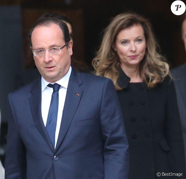 François Hollande et Valérie Trierweiler, lors des obsèques de Patrice Chéreau le 16 octobre 2013.