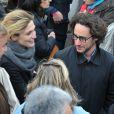 Julie Gayet et Thomas Hollande au Chateau de Vincennes, le 15 avril 2012 lors d'un meeting de François Hollande.