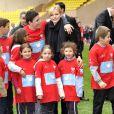 La princesse Charlene de Monaco lors du 4e Challenge Sainte-Dévote de Rugby au Stade Louis II de Monaco, le 1er février 2014