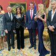 L'ambassadeur de France à Copenhague François Zimeray et sa compagne recevant la princesse Marie et le prince Joachim de Danemark ainsi qu'Arielle Dombasle et Bernard-Henri Lévy lors d'un dîner de gala à l'ambassade de France à Copenhague le 5 février 2014.